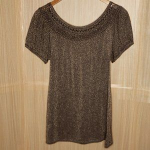 Shelly M Couture Womens Gold Sparkle Tunic Sweater